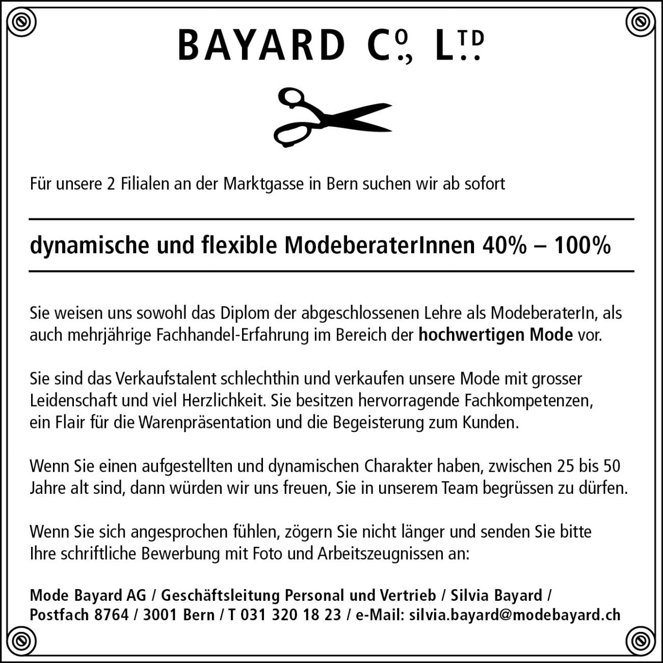 © Mode Bayard Group - Stelleninserat - 115.5 x 115.5 - 80 mm - V02